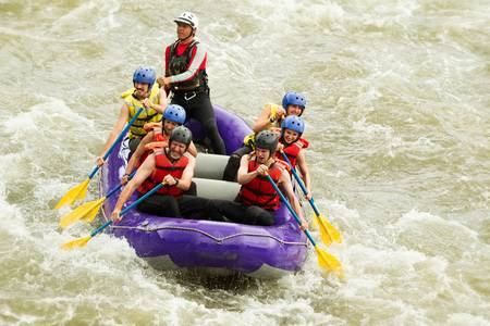 raft: whitewater rafting boat, group of seven people Stock Photo