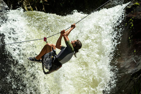 waterfall zipline crossing photo