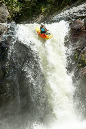 waterfall kayak jump , sangay national park, ecuador Stock fotó