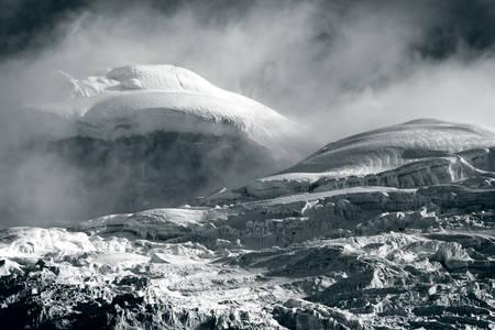 stock vista: thick glacier on cotopaxi volcano, ecuador