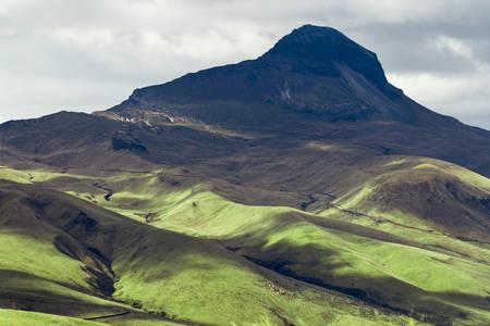 dormant: corazon volcano, ecuadorian andes, extinct.