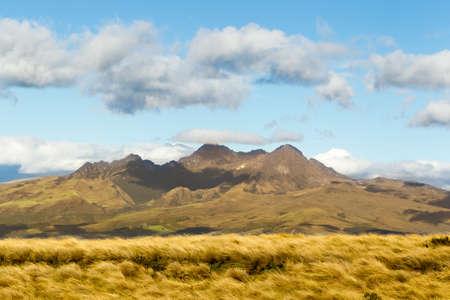 stock vista: pasochoa volcano, view from iliniza volcano refugee, ecuadorian andes.