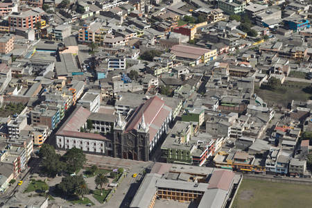 tungurahua: banos de agua santa - popular desitnation in ecuador, south america, the city covered by ash from tungurahua volcano explosion. Stock Photo