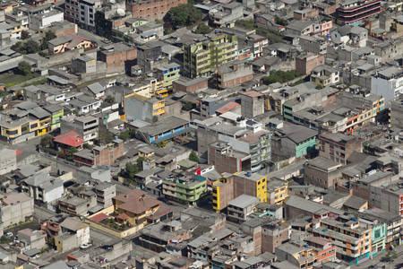 banos de agua santa - popular desitnation in ecuador, south america, the city covered by ash from tungurahua volcano explosion. photo