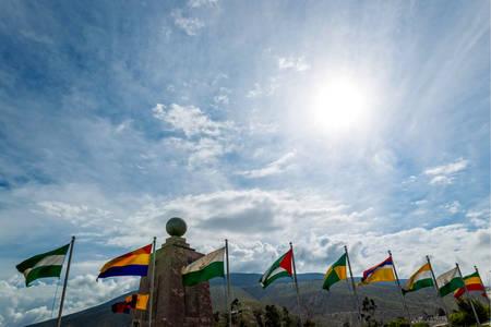 world cultures: mitad del mundo (middle of the world) monument near quito, ecuador
