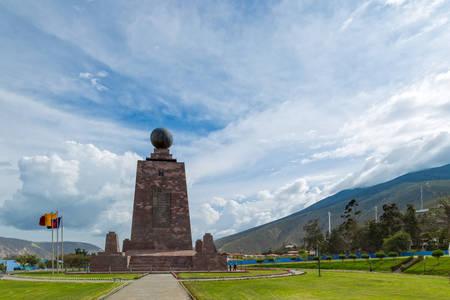 quito: mitad del mundo (middle of the world) monument near quito, ecuador