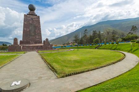 ecuador: mitad del mundo (middle of the world) monument near quito, ecuador