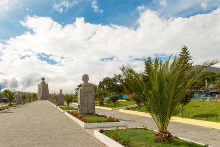 commemorating: mitad del mundo (middle of the world)  statues alley commemorating french mission that researched this place Stock Photo