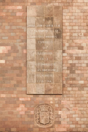 commemorative inscription to spanish contributors that helpt mesuring the planet bulging, quito, ecuador