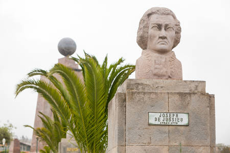 0 geography: statue of french astronomer joseph de juisseu, equator monument in the background, quito, ecuador