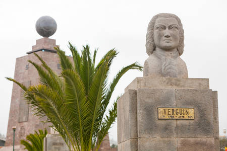 0 geography: statue of french astronomer verguin, equator monument in the background, quito, ecuador
