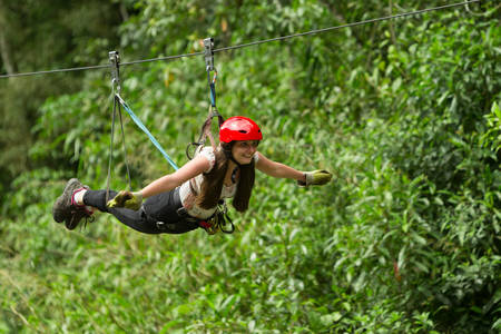 lines: zip line experience in ecuadorian andes Stock Photo