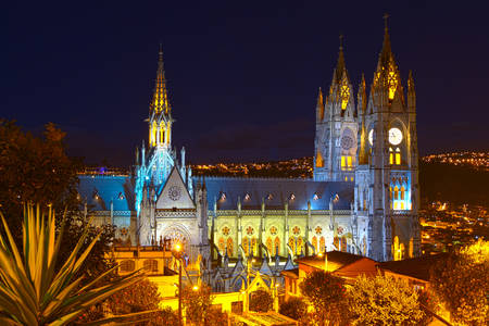 cathedral: basilica of national vote by night, quito ecuador