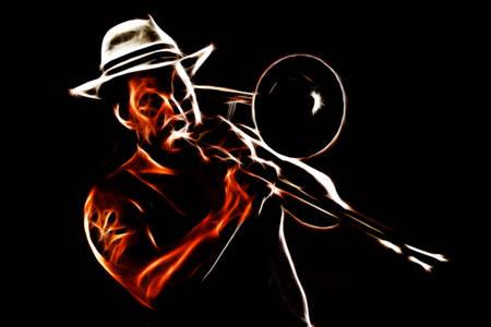 trombon: Hombre rastafari tocar el trombón, que llevaba un sombrero de Panamá Foto de archivo