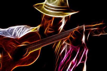 rastafarian man playing classic guitar Stock Photo