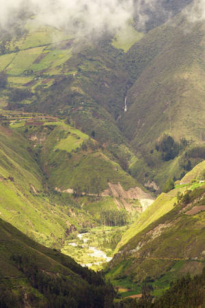 tungurahua: small waterfall on tungurahua volcano, long distance shot