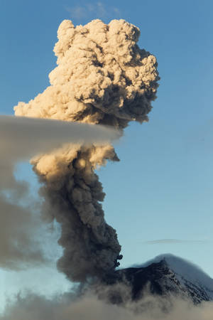 vulcanology: tungurahua volcano in ecuador, large mushroom cloud explosion
