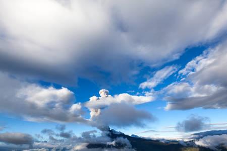 tungurahua: super wide angle shot of tungurahua volcano eruption in ecuador,