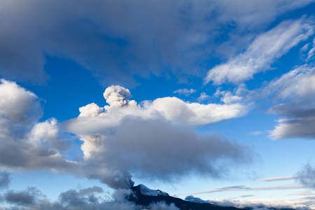 tungurahua: super wide angle shot of tungurahua volcano eruption in ecuador,