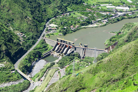 tungurahua: agoyan dam aerial ,shot from full size helicopter, tungurahua province, ecuador Stock Photo