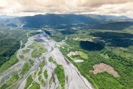basin mountain: pastaza river exiting andes mountain, ecuador, high altitude full size helicopter Stock Photo