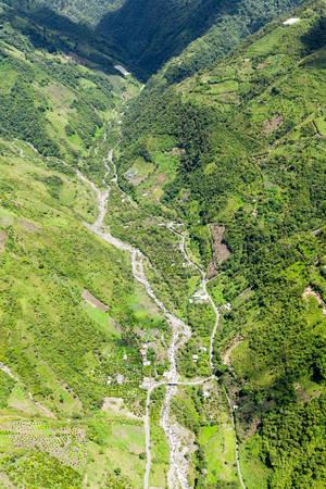 blanco: rio blanco river exiting llanganates national park, tungurahua province ecuador, high altitude helicopter shot