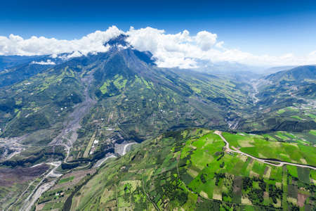 tungurahua: tungurahua volcano aerial wide angle, chambo river valley on the right side, high altitude helicopter shot,