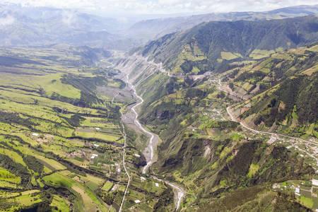 strombolian: chambo valley aerial shot, tungurahua province, ecuador