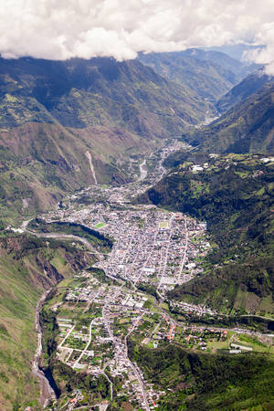 tungurahua: Banos de Agua Santa, popular touristic destination in Tungurahua province Ecuador, aerial shot Stock Photo