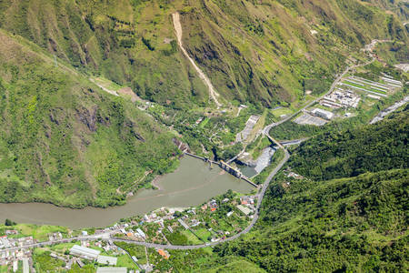 tungurahua: Agoyan dam aerial ,shot from full size helicopter, Tungurahua province, Ecuador