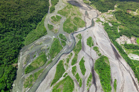 basin mountain: Pastaza river basin aerial, shot from low altitude full size helicopter