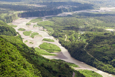 helicopter: Pastaza river basin aerial, shot from low altitude full size helicopter