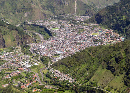 tungurahua: Banos de Agua Santa, Tungurahua province Ecaudor, aerial panorama