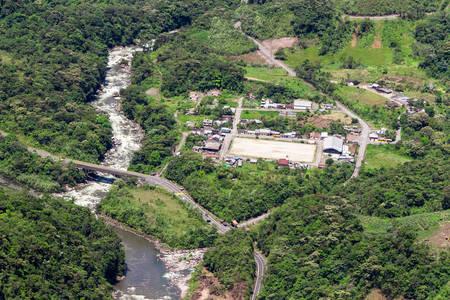 blanco: Rio Blanco village in Ecuadorian Andes, aerial shot Stock Photo