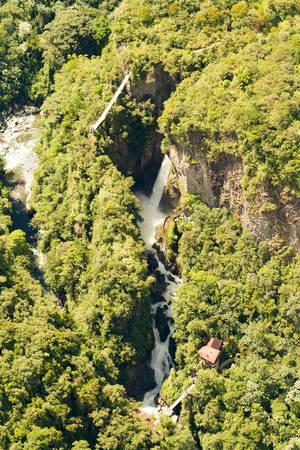 tungurahua: Pailon del Diablo waterfall complex, Tungurahua province Ecuador, aerial shot