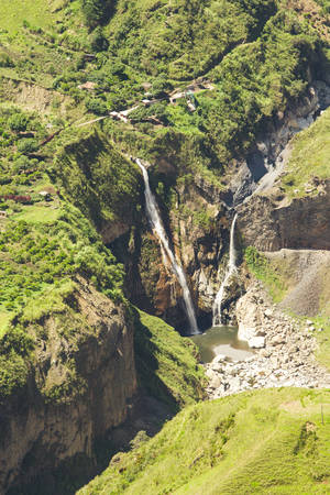 altitude: Sangay waterfall in Tungurahua province, aerial shot from high altitude