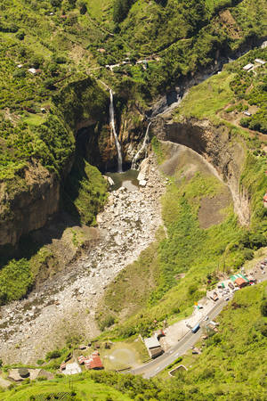 poi: Sangay waterfall in Tungurahua province, aerial shot from high altitude