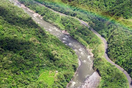 amazon river: Pastaza river basin aerial, shot from low altitude full size helicopter