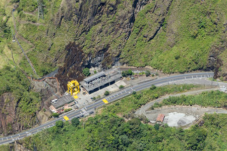 outdoor electricity: Agoyan dam aerial ,shot from full size helicopter, Tungurahua province, Ecuador