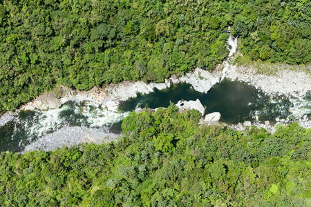 high size: Aerial panoramic shot of Pastaza river in Andes, high altitude full size helicopter shot