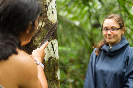 field study: Naturalist guide explaning to a female tourist Sangre de Grado extraction, focus on tree bark Stock Photo