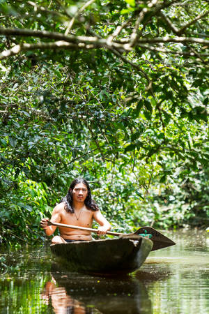 watershed: Indigenous adult man on typical wooden canoe choped from a single tree navigating murky waters of Ecuadorian Amazonian primary jungle