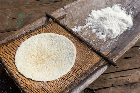 grinded: Cooked cassava pie and grinded root, indigenous cooking style