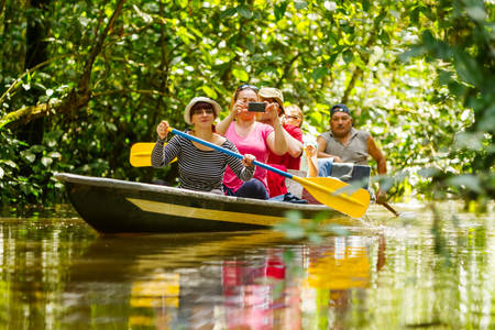team cooperation: Tourist boat navigating on murky Amazonian water in Cuyabeno Wildlife Reserve