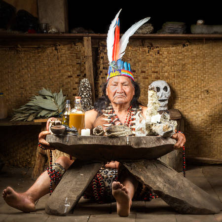 shamanism: Shaman in Ecuadorian Amazonia during a real ayahuasca ceremony, model released image, as seen in April 2015
