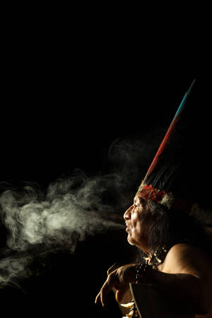 amazonia: Shaman in Ecuadorian Amazonia during a real ayahuasca ceremony, model released image, as seen in April 2015