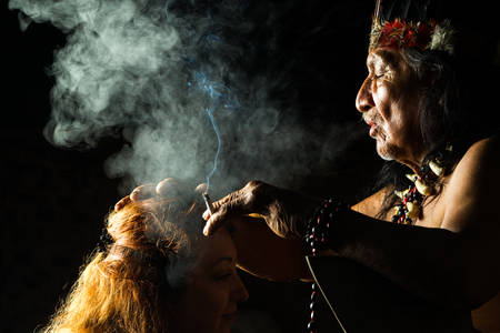 Shaman in Ecuadorian Amazonia during a real ayahuasca ceremony, model released image, as seen in April 2015