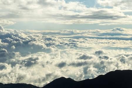 Cloudscape at sunset at high altitude in Andes mountains, circa 5000m
