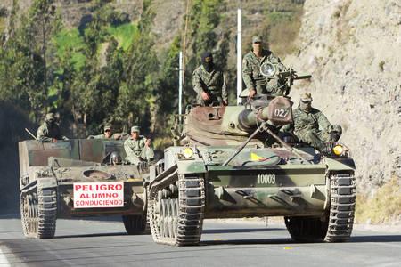 patrolling: Riobamba, Ecuador - 14 June 2012: Army Tanks Patrolling The Streets Of Riobamba During An Exercise In Riobamba On June 14, 2012 Editorial