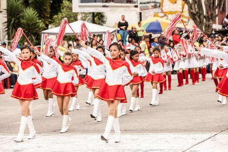 predominant: Banos De Agua Santa, Ecuador - 26 July 2015: Students From All The Schools Ceremony For The Summer Break In Banos De Agua Santa On July 26, 2015